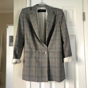 Zara Basic checkered blazer